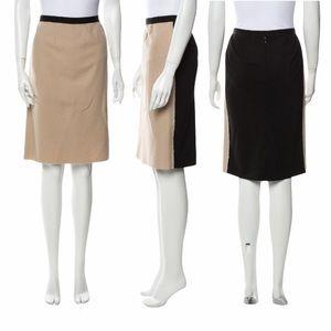 Nina Ricci | Virgin Wool Two-Tone Pencil Skirt 40